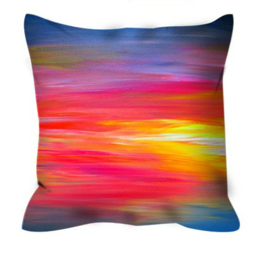 BRIGHT HORIZONS Rainbow Colorful Art Suede Throw Pillow Red