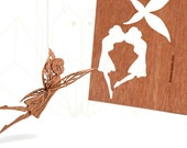 postcard wood - 3 elf cards