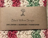 Washcloth, Handmade Crochet Washcloth, Cotton Washcloth Set, Stocking Stuffer, Housewarming Gift, Holiday Stripes