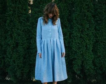Light Blue Linen Dress - Long Sleeve Dress - Loose Fitt Dress - Linen Women Dress - Handmade by OFFON