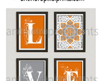 Art Love Ikat Burnt Orange Grey Modern inspired Art Prints Collection  -Set of (4) - 8x10 Prints -(UNFRAMED)