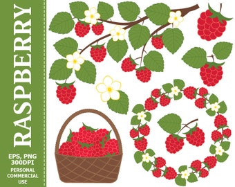 BUY 1 GET 1 FREE - Digital Raspberry Clip Art - Leaves, Branch, Basket, Wreath, Berry, Raspberry Clip art. Commercial and Personal use