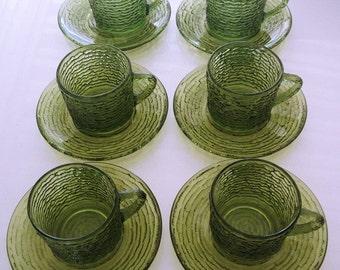 Six Anchor Hocking Soreno Green Glass Cups and Saucers, hot cider cups, eggnog cups, glass demitasse cups, avocado green glassware, tea set