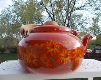 Burnt Almond Orange Color Enamel Teapot with Pretty Flowers Painted  on it.. /Not included in Coupon Sale New Listing