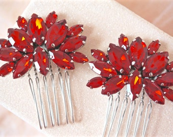 Red Rhinestone Hair Combs, Red Crystal Hair Combs, Red Hair Accessories, Bridal Hair Combs, Bridesmaids Hair Comb, Wedding Hair Comb
