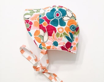 Baby Bonnet | Toddler Bonnet | Sun Bonnet | Sun Hat | Bright Flowers