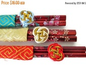 ON SALE Asian Chopsticks, Vintage Wood Hand painted , Chinese Chopsticks, Set of 3 Pairs