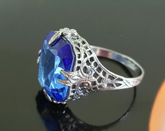SALE Faceted Blue Crystal Sterling Silver Ring, Art Deco Signed SZ 8, Stunning Filigree Cocktail Ring