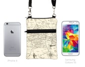 Samsung Note 5 Crossbody, iPhone 6 Plus Sling Bag, Smartphone Purse, Cell Phone Purse, Small Cross Body Bag  - vintage world map