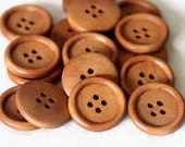 "10 Light Rusty Brown Wooden Buttons - 25mm (1 inch) - 4 Holes -  Round Sewing Wood Buttons 25mm (1"")   (B19497)"