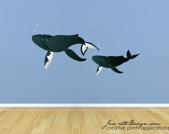 Kids Wall Decals,Whale Wall Decals, Under the Sea Stickers, Humpback Whales
