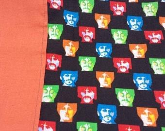 "Travel size Beatles black and orange cotton pillowcase 12""x 26"""