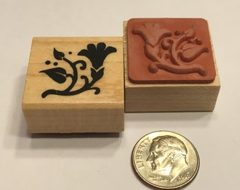 small  Flower design rubber stamp, 25 mm (F1)