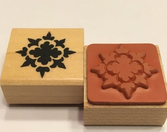 small snowflake design rubber stamp, 23 mm (F1)