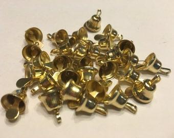 5 tiny gold Liberty bells, 7 x 8 mm (A15)