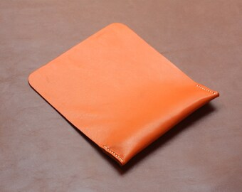 Leather Mouse Pad, Ergonomic Wrist Rest Support, Premium Italian Leather, Orange, Free Shipping