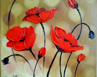 Original Painting - Red Poppies 8 x 8 - Abstract Oil Flowers Palette Knife Painting - Poppy Fields - Contemporary Art Square Small Painting
