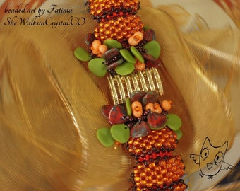 45% OFF - DIY - KIT Material + Tutorial  - Beading Kit for my Pumpkin Shaped Bracelet