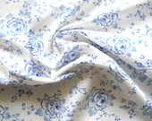vintage french fabric blue roses fabric antique french fabric patchwork fabric quilting fabric blue floral fabric 186