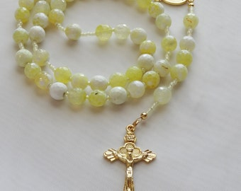 Rosary Beads - Yellow Agate Five Decade Rosary Beads - Free Shipping