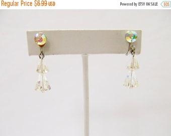 ON SALE Vintage Aurora Borealis Crystal Dangle Earrings Item K # 689