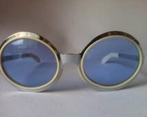 Vintage 70s Mod UVEX Sunglasses in chromed & white with blue lenses
