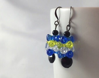 Tri-bead earrings, blue and yellow, throwback earrings, nesting beads, old school, acrylic beads, dangle earrings