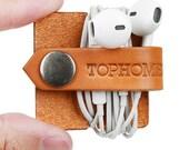 USB Cable Holder Earphone Holder Headphone Organizer Headphone Case Phone Cable Organizer Handmade Italian Leather Genuine Leather
