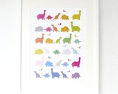 Rainbow Dinosaurs Nursery Print - T-Rex - Modern Children's Art Poster in A4, A3, A2 8 x 10 & 11 x 14 prints - supersize extra large
