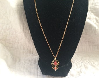 Vintage AVON Goldtone Necklace with Red and Pink Stone Pendant, Length 20''