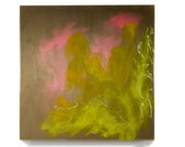 """Wildflower painting, """"Poured Garden of Wild Geraniums"""" by Kirsten Gilmore, abstract original artwork in pink & green on 12X12X3/4 inch wood"""