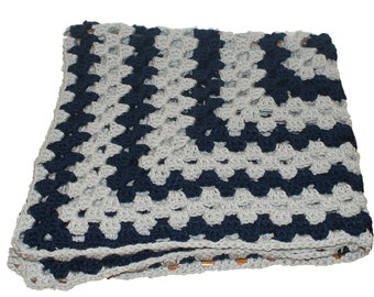 Gray Blanket, Blue Blanket, Navy Afghan, Baby Afghan, Baby Blanket Boy, Crochet Baby Blanket, Granny Square Afghan, Afghan Blanket, Pram