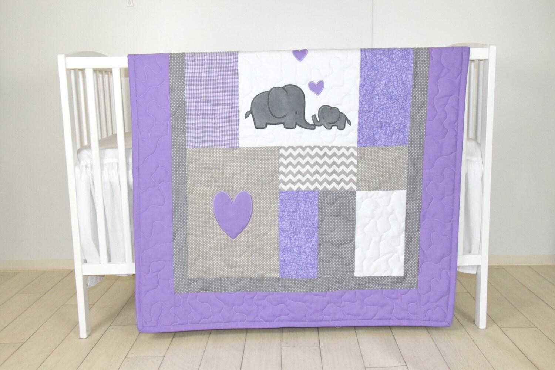 crib blanket elephant baby boy bedding gray purple quilt chevron nursery. Black Bedroom Furniture Sets. Home Design Ideas