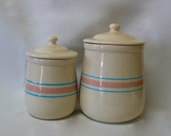 Vintage McCoy Pottery Canister #131 #135  Pink & Blue Stripes Bands W/ Lid Stonecraft Two Canisters Circ., 1974