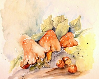 Toadstool painting,  original watercolor,  6 x 6 inch art,  fine art small painting,  woodland scene,  mushrooms and hazel nuts