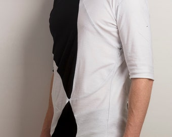 Post modern futuristic asymmetrical mens shirt in black and white