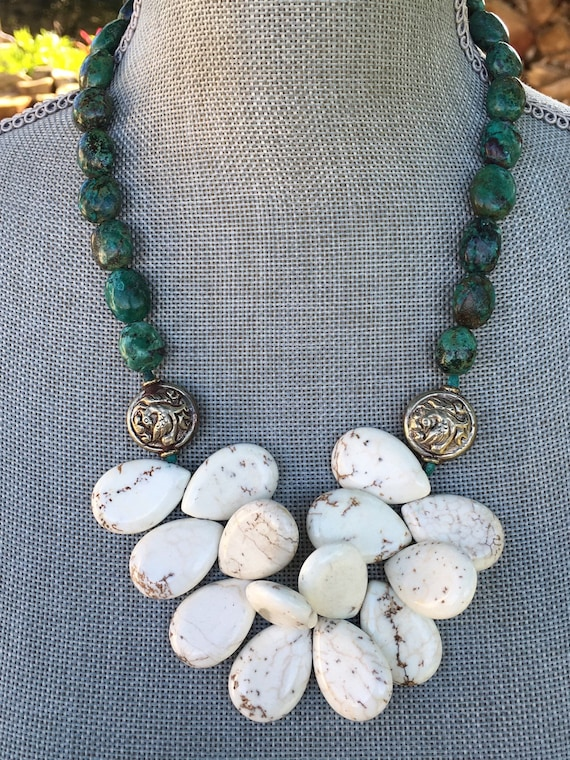 Genuine Turquoise and White Turquoise Boho Statement Necklace and Earring Set