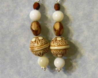 Brown, Beige and White Acrylic, Glass and Mother of Pearl Drop Earrings