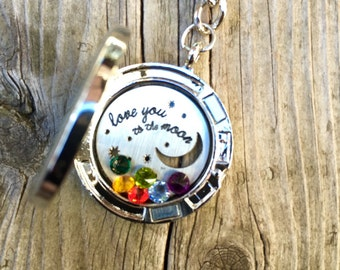 Love You To The Moon And Back Locket Keychain
