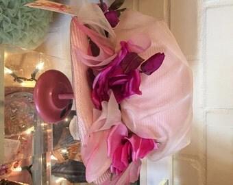 1960s Vintage CHRISTIAN DIOR Hat Vintage Chapeaux Pink Flowers Movie Prop Movie Costume PARIS New York Designer Hat Straw & Chiffon