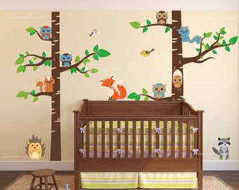 Nursery Birch Tree Wall Decal Forest with Owl Birds Squirrels Fox Porcupine Racoon Vinyl Sticker Woodland Children Decor Removable #1327