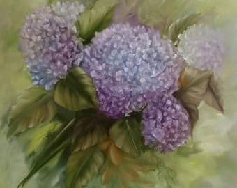 Hydrangea 16 x 16 inch deep box Canvas Oil Painting