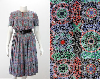 XL Vintage Dress - Black, Green, Red and Blue
