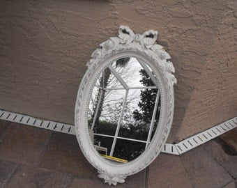 CHOOSE your own color - Shabby Chic Vintage Ornate Syroco Mirror - Painted Old White and distressed 12 x 22