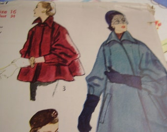 Vintage 1950's Simplicity 8427 Coat Sewing Pattern, Size 16, Bust 34