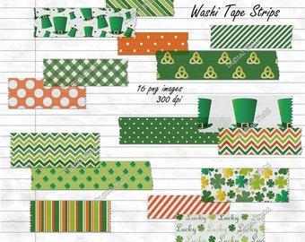St. Patrick's Day Digital Washi Tape Strips - printable digital clipart set - instant download