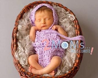 Crochet Lace Romper and Bonnet set