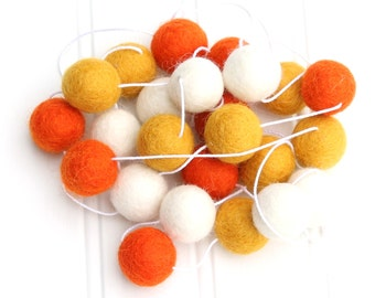 Halloween Felt Ball Garland, Pom Pom Garland, Candy Corn Decor, Halloween Party Decor, Bunting Banner, Orange White Yellow, Autumn Decor