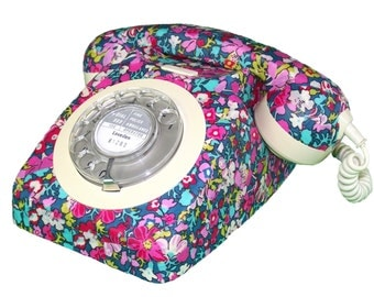 Vintage retro GPO 746 rotary dial phone converted working order decoupaged in Liberty Print BLOOMSBURY floral pink and blue