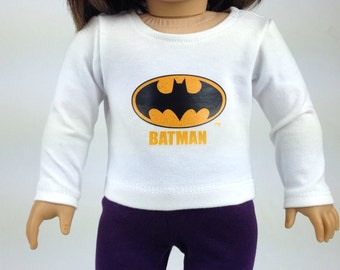"American Girl Batman White T-shirt  ~ 18""dolls"
